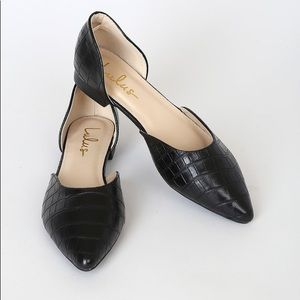 NIB Cecee Black Croc Pointed-Toe D'Orsay Flats 7.5